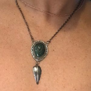 Jewelry - Sterling silver turquoise feather necklace